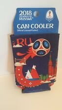 2018 FIFA World Cup Russia Dual Sided Blue Drink Can Cooler Koozie NEW