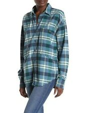 Free People Loveland Plaid Button Down - Sea Blue - XS - NWT