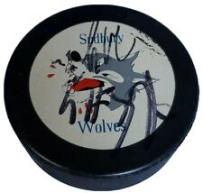 UNKNOWN SIGS! SIGNED VINTAGE SUDBURY WOLVES OHL OFFICIAL HOCKEY PUCK 🇨🇦
