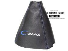 """Cuffia Leva Cambio Per Ford C-Max 2010-2016 Pelle """"C-Max"""" Blu Ricamo"""