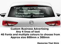 PERSONALISED BUSINESS NAME STICKER Car Van Rear Window Door Sign Writing Vinyl