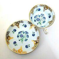 Grosvenor Teacup & Saucer Light Blue W/ Floral Center Gold Trim Bone China C733