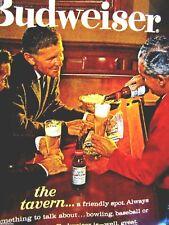 "1963 Budweiser Beer Original Print Ad-At The Tavern 8.5 x 11"""
