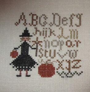 Witch Alphabet Halloween design - Completed cross stitch (unframed)