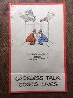 "Careless Talk Costs Lives Original WW2 WW11 Fougasse Poster 12-1/4"" x 8-1/4"""