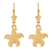 14k Yellow Gold Textured Starfish Sea Star Drop / Dangle Leverback Earrings