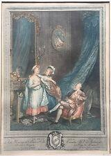 "Antique ENGRAVING ETCHING ""Le Petit Hour"" Nicolas DELAUNAY Sigmund FREUDENBERGER"