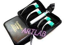 New Premium Fiber Optic Laryngoscope Set Of 4 Intubation Blades Medium Handle