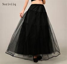 Women's Long Petticoat Rockabilly Black Underskirt Skirt Tulle 3 Layer Crinoline