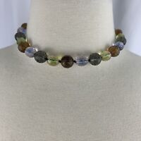 Faceted Glass Knotted Collar Necklace Vintage Purple Green Choker Beaded