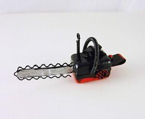 Dollhouse Miniature Red & Black Metal Chainsaw, G8603