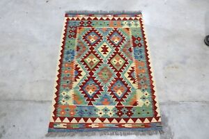 Afghan Kundoz Genuine Handmade Tribal Nomad Multi Colour Wool Kilim Rug 84x120cm