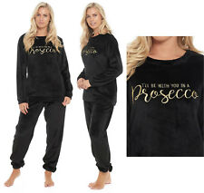 Prosecco Fleece Pyjamas Ladies Black Lounge Twosie Novelty Flannel Womens PJ's