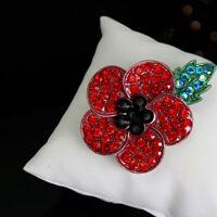 2019 NEW Crystal Poppy Pin Badges Enamel Red Brooch Flower