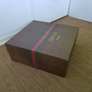 """Gucci Giant Gift Box with Red & White Tissue Paper 19.75"""" x 18.5"""" x 7.75"""" EMPTY!"""