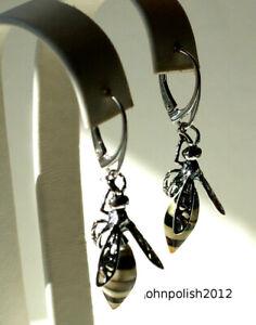 Baltic Amber Bee  Earrings on Silver 925