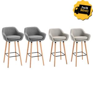 Modern Bar Stools Set Padded Tub Seat Backrest Kitchen Counter Dining Chair 2PCS