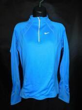 Nike M Blue Zip Neck Shirt Fit Dry Running Jog Run Lower Zip Back Pocket Womens