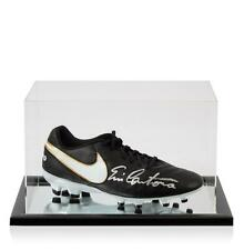 Eric Cantona Signed Black Nike Tiempo Boot In Acrylic Case Autograph Cleat