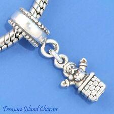 SANTA IN CHIMNEY CHRISTMAS 925 Sterling Silver EUROPEAN EURO Dangle Bead Charm
