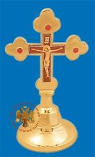 Orthodox Blessing Cross with Stones With Fine Enamel Christ Details Gold Plated