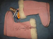 GIRLS 33 / 1.5  2 EMU AUSTRALIA PINK SUEDE SHEEP SKIN LINED LACE UP WINTER BOOTS