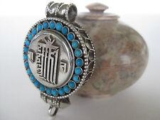 Turquoise Silver Gau Locket ~ Kalachakra, Time Wheel ghau