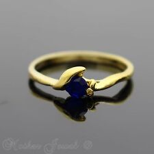 PRETTY PETITE YELLOW GOLD PLATED SAPPHIRE BLUE WOMENS HEART SETTING RING SIZE 8