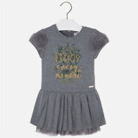 Mayoral Girls Short sleeve dress in Grey with tulle (04949) aged 2-8