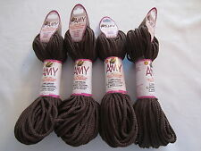 Lot of 4 rolls of 2mm Brown Amy Braided Nylon Macrame Craft Jewelry Cord 100yds