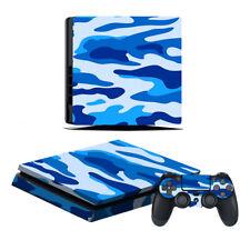 Playstation 4 Slim Konsole Designfolie Skin Schutzfolie Folie Camouflage Blau