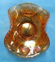 ORANGE DEPRESSION GLASS CANDY DISH--RUFFLED EDGE