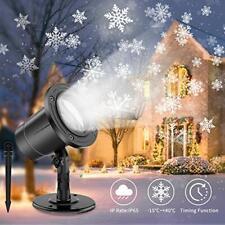 Christmas Snowflake Projector Lights, IP65 Waterproof Moving Snowstorm Projector