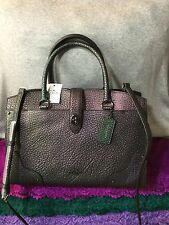 Handbag Coach Mercer Dark Gunmetal/Hologram Leather Turnlock X Body Satchel 30