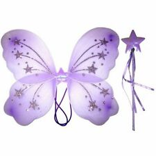 Butterfly Fairy Wings with Wand Set Pink White Purple Yellow Girls Fancy Dress