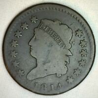 1814 US Copper Large Cent S-295 Plain 13 Stars One Cent Coin Circulated 1c