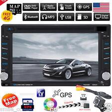GPS Navigation HD Double 2 DIN Car Stereo CD DVD Player Bluetooth Radio Camera