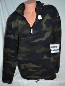Victoria's Secret Pink VS Half Zip Sherpa Pullover Sweatshirt Camo Green Black L