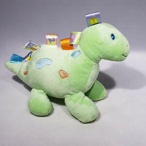 "Taggies Mary Meyer Baby Dinosaur Plush Soft Toy Green Stuffed Animal 10"" EUC"