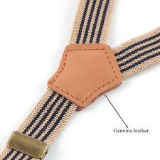 Jeans Striped Retro 3 Clip Suspenders For Pants Unisex Adjustable Braces