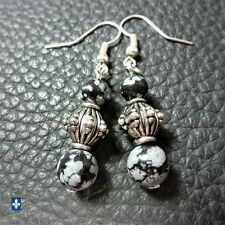 ✨ GROUPED SHIPPING DISCOUNTS Delicate Snowflake Obsidian Plated Silver Earrings