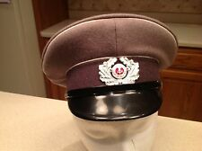 Military Hat East German Dark Gray White Piping  With Badge and Buttons Visor
