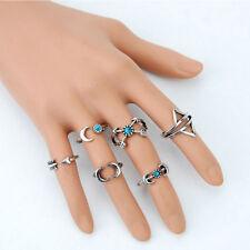 6Pcs Turquoise Arrow Moon Statement Midi Rings Set Female Jewelry Popular ITBC