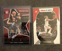 2020-21 NBA Hoops Trae Young Lights Camera Action #8 + Base Card #46 Hawks