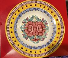Slovak MODRA Pottery Decorative Plate LARGER 9.5 Inches SIGNED