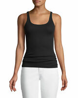 VINCE Women Size Small Favorite Tank Top Fitted Ribbed Black Cami Shirt NEW