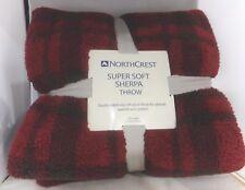 Red/Brown Buffalo Check Plaid Super Soft Plush Sherpa Throw Blanket 50x60 NWT