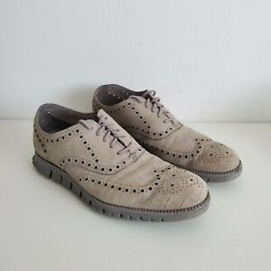 Cole Haan Mens Sz 10.5 Zerogrand Gray Suede Leather Oxford Wingtip Comfort Shoe