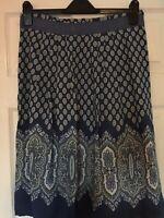 Noa Noa blue paisley print flared pleated lined skirt - Size 14