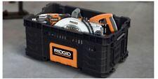 RIDGID 22 in Pro Open Tool Box Crate Storage Bin Heavy Duty Stackable Organizer